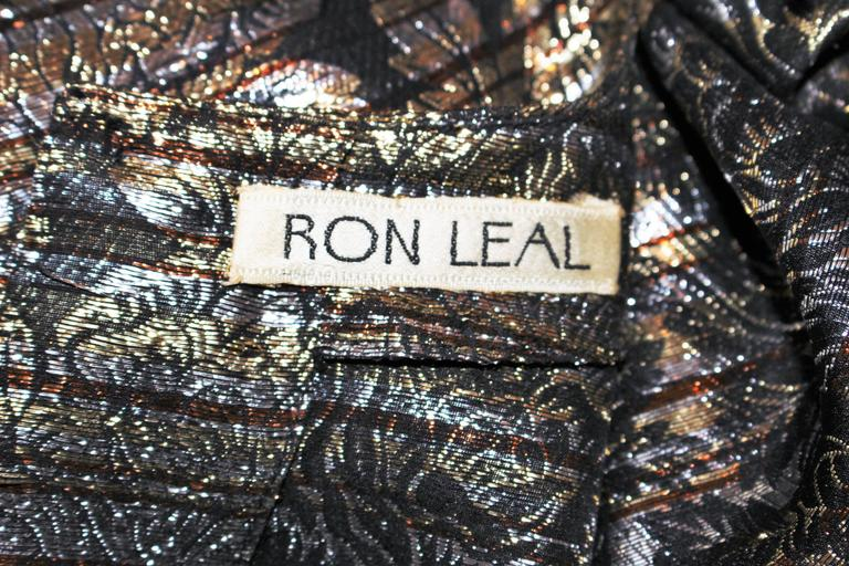 RON LEAL Metallic Lame Bronze Ensemble with Scarf & Wrap Size 6-8 For Sale 5