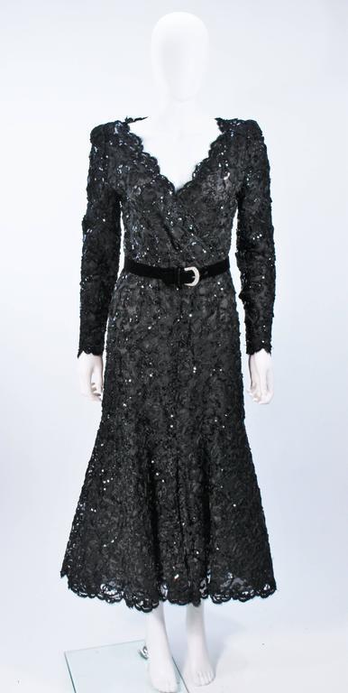 oscar de la renta black lace sequin gown with rhinestone