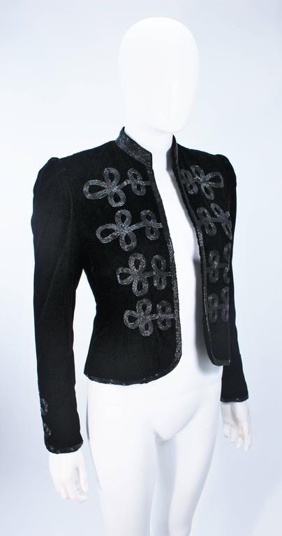OSCAR DE LA RENTA Black Velvet Beaded Jacket Size 4 4