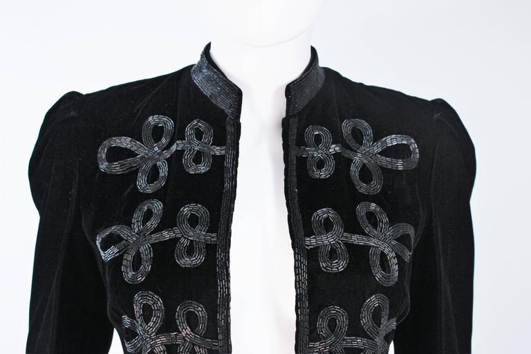 OSCAR DE LA RENTA Black Velvet Beaded Jacket Size 4 3