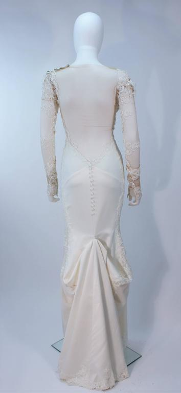 GALIA LAHAV Couture White Floral Lace Gown with Train and Sheer Details Size 2 9