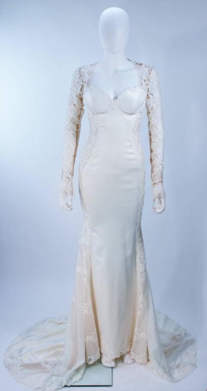 GALIA LAHAV Couture White Floral Lace Gown with Train and Sheer Details Size 2 In Excellent Condition For Sale In Los Angeles, CA