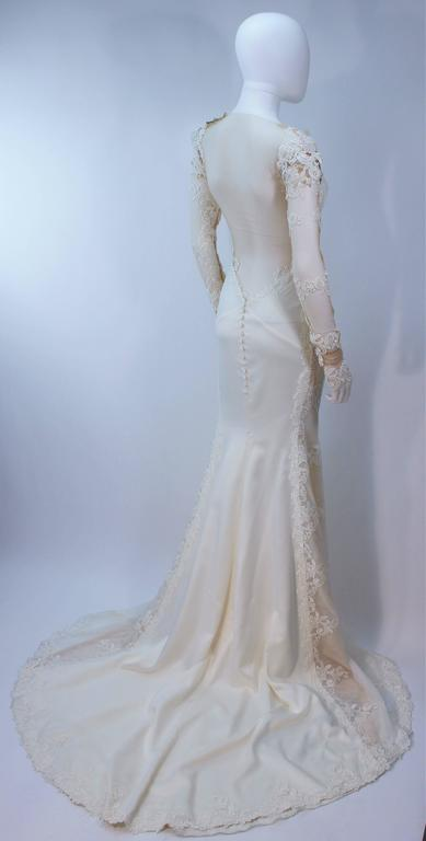 GALIA LAHAV Couture White Floral Lace Gown with Train and Sheer Details Size 2 8
