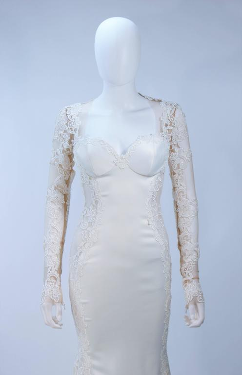 GALIA LAHAV Couture White Floral Lace Gown with Train and Sheer Details Size 2 6