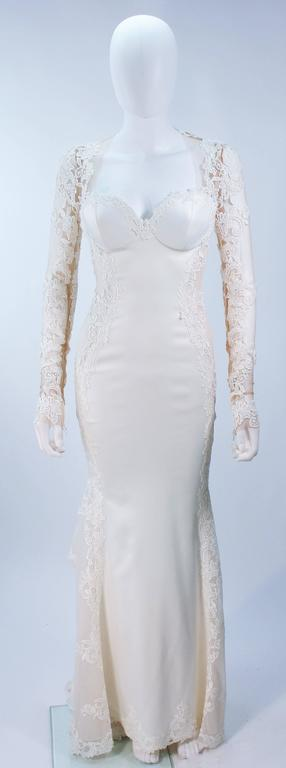 GALIA LAHAV Couture White Floral Lace Gown with Train and Sheer Details Size 2 3