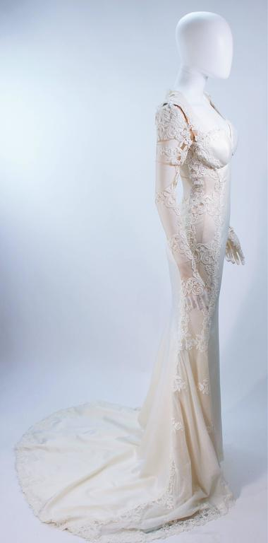 GALIA LAHAV Couture White Floral Lace Gown with Train and Sheer Details Size 2 7