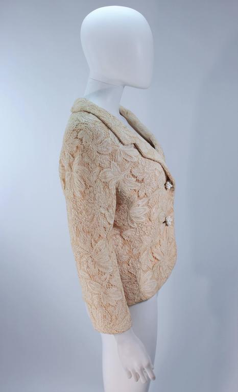 Women's GALANOS Antique Cream Floral Lace Jacket Size 6-8 For Sale