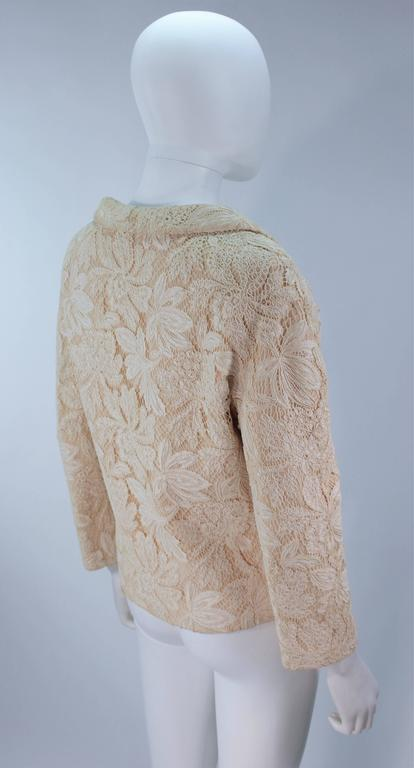 GALANOS Antique Cream Floral Lace Jacket Size 6-8 For Sale 1