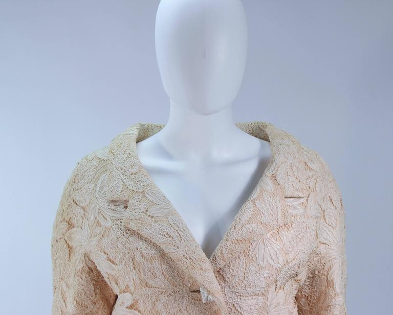 Gray GALANOS Antique Cream Floral Lace Jacket Size 6-8 For Sale