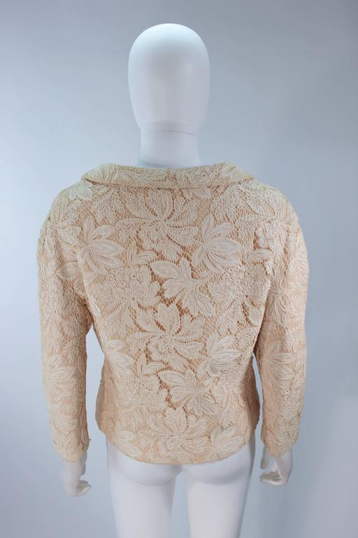 GALANOS Antique Cream Floral Lace Jacket Size 6-8 For Sale 2