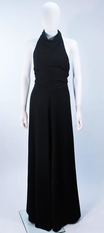 JEAN PATOU Black Wool Full Length Draped Neck Halter Dress Size 10 In Excellent Condition For Sale In Los Angeles, CA