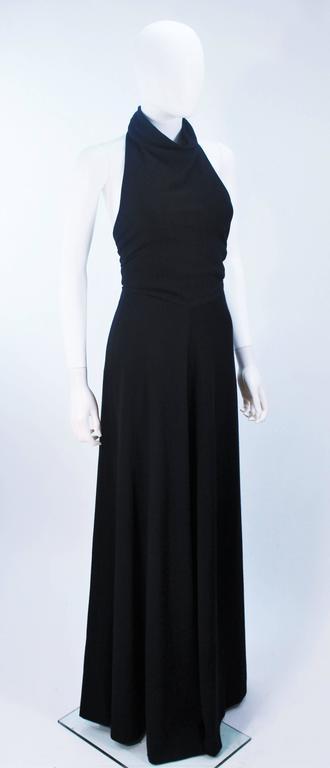 JEAN PATOU Black Wool Full Length Draped Neck Halter Dress Size 10 For Sale 2