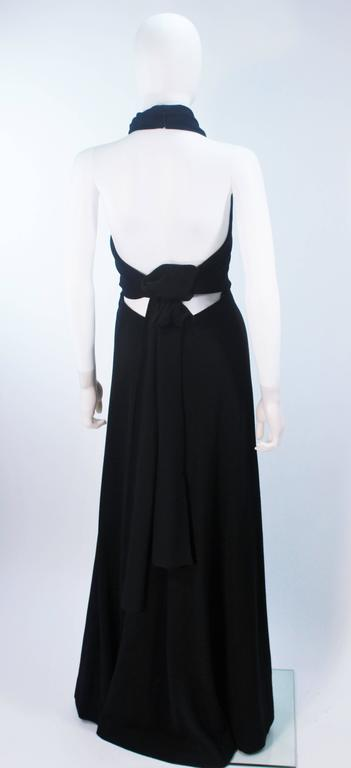 JEAN PATOU Black Wool Full Length Draped Neck Halter Dress Size 10 9