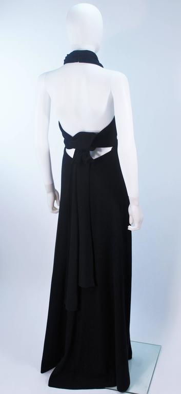 JEAN PATOU Black Wool Full Length Draped Neck Halter Dress Size 10 For Sale 4