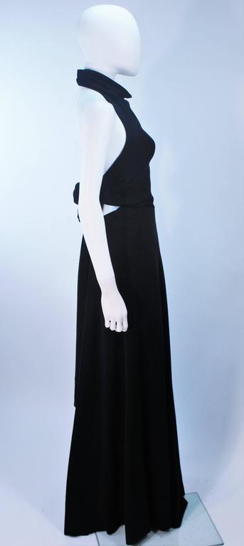 JEAN PATOU Black Wool Full Length Draped Neck Halter Dress Size 10 For Sale 3