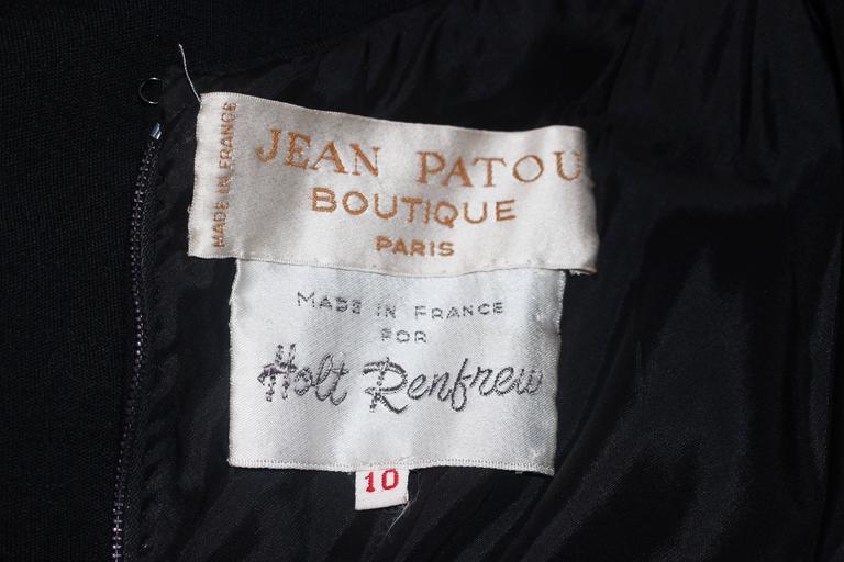 JEAN PATOU Black Wool Full Length Draped Neck Halter Dress Size 10 For Sale 6