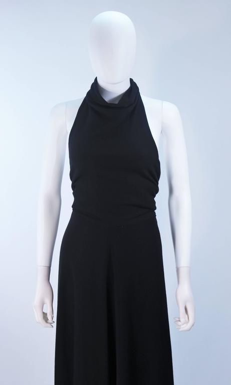 Women's JEAN PATOU Black Wool Full Length Draped Neck Halter Dress Size 10 For Sale