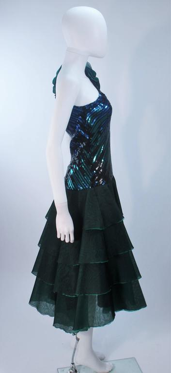 Iridescent Emerald Green Sequin Cocktail Dress Size 6-8 For Sale 1