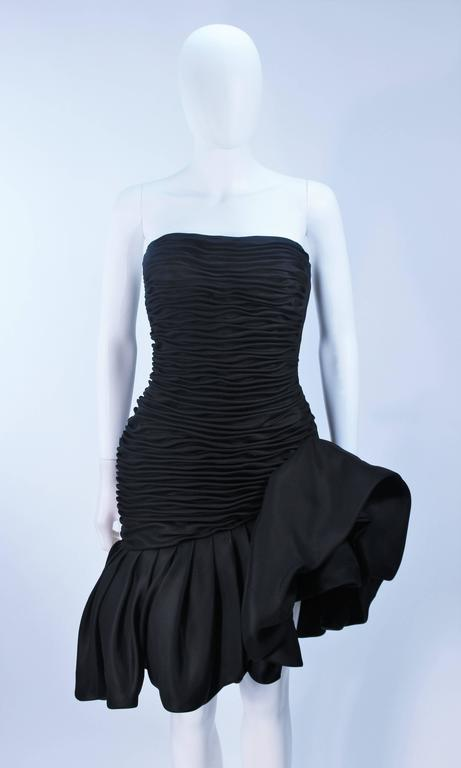 UNGARO Black Silk Gathered Cocktail Dress with Ruffle Detail Size 4-6 In Excellent Condition For Sale In Los Angeles, CA