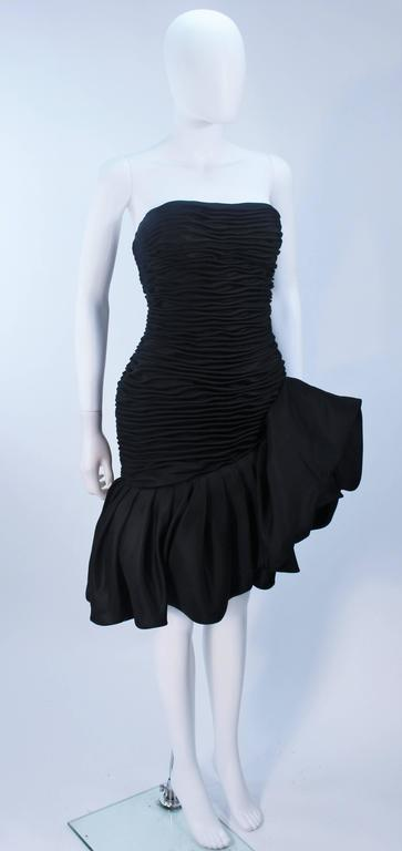 UNGARO Black Silk Gathered Cocktail Dress with Ruffle Detail Size 4-6 For Sale 2