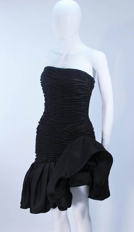 UNGARO Black Silk Gathered Cocktail Dress with Ruffle Detail Size 4-6 For Sale 1