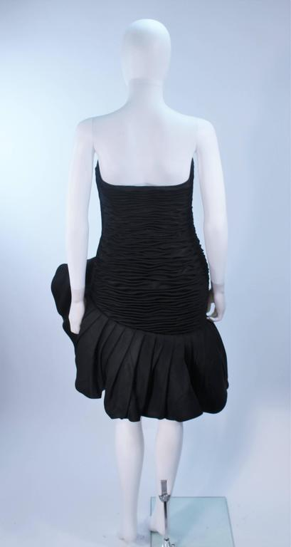 UNGARO Black Silk Gathered Cocktail Dress with Ruffle Detail Size 4-6 For Sale 5