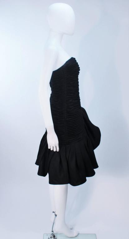 UNGARO Black Silk Gathered Cocktail Dress with Ruffle Detail Size 4-6 For Sale 4
