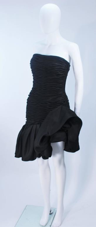 Women's UNGARO Black Silk Gathered Cocktail Dress with Ruffle Detail Size 4-6 For Sale