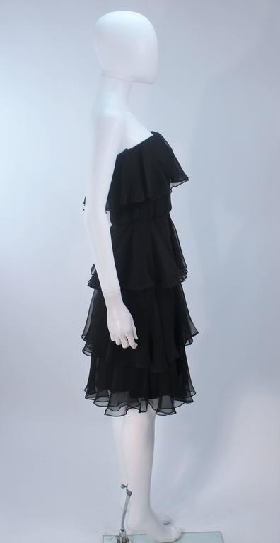 ESTEVEZ Black Silk Strapless Tiered Chiffon Cocktail Dress Size 4 7