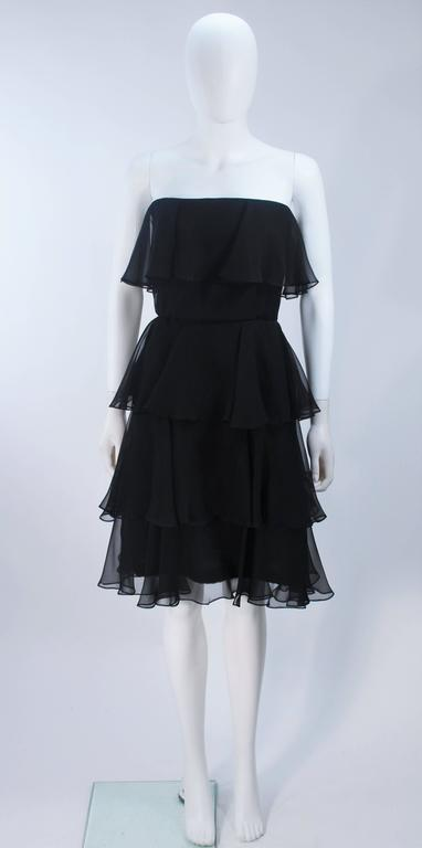 ESTEVEZ Black Silk Strapless Tiered Chiffon Cocktail Dress Size 4 2