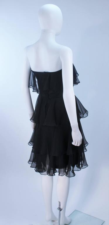 ESTEVEZ Black Silk Strapless Tiered Chiffon Cocktail Dress Size 4 8