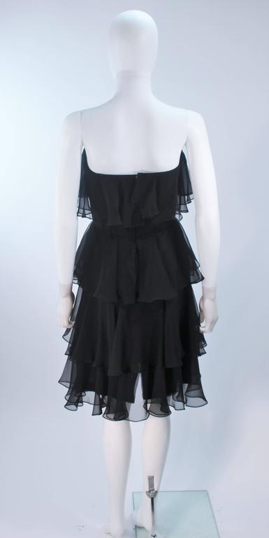 ESTEVEZ Black Silk Strapless Tiered Chiffon Cocktail Dress Size 4 9