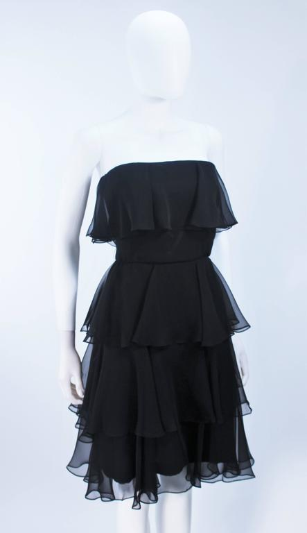 ESTEVEZ Black Silk Strapless Tiered Chiffon Cocktail Dress Size 4 6