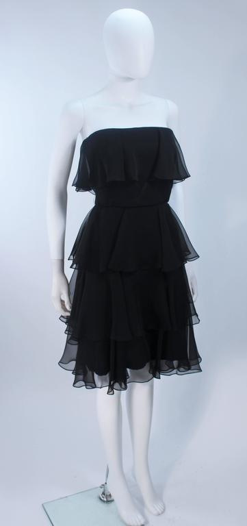 ESTEVEZ Black Silk Strapless Tiered Chiffon Cocktail Dress Size 4 5