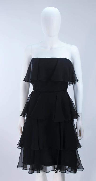 ESTEVEZ Black Silk Strapless Tiered Chiffon Cocktail Dress Size 4 3