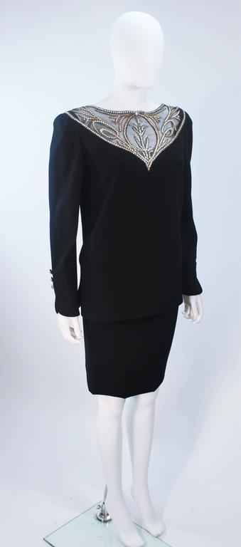 Women's BOB MACKIE Black Skirt Suit Ensemble with Sheer Embellished Accents Size 4-6 For Sale
