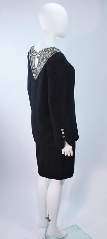 BOB MACKIE Black Skirt Suit Ensemble with Sheer Embellished Accents Size 4-6 For Sale 2