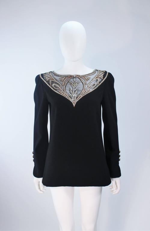 BOB MACKIE Black Skirt Suit Ensemble with Sheer Embellished Accents Size 4-6 For Sale 4