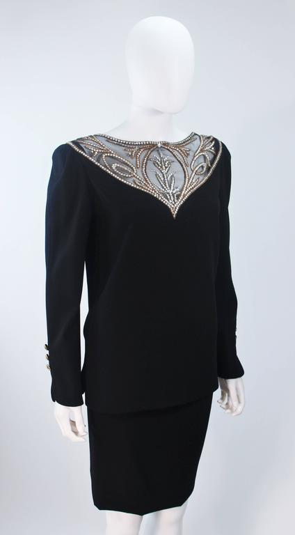 BOB MACKIE Black Skirt Suit Ensemble with Sheer Embellished Accents Size 4-6 For Sale 1
