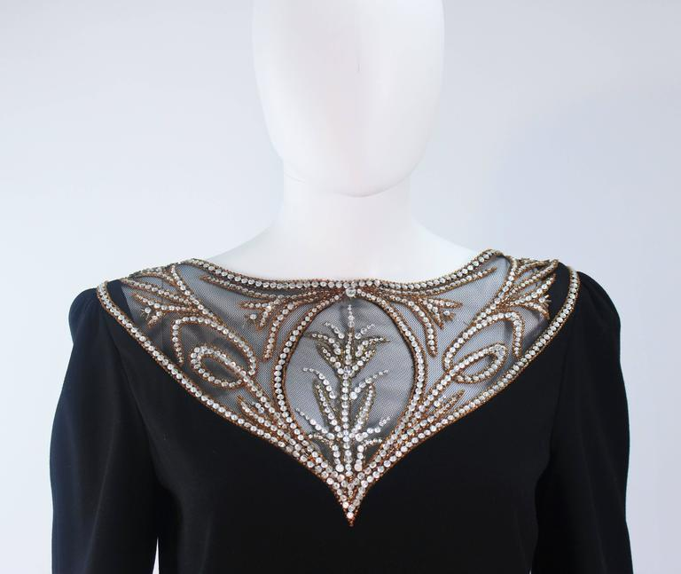 BOB MACKIE Black Skirt Suit Ensemble with Sheer Embellished Accents Size 4-6 In Excellent Condition For Sale In Los Angeles, CA