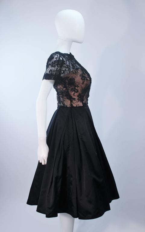 Vintage 1950's Custom Lace Cocktail Dress Size 2-4 For Sale 3