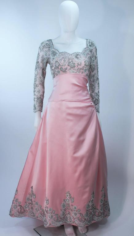 BOB MACKIE Pink Silk & Lace Embellished Ball Gown Size 12 2