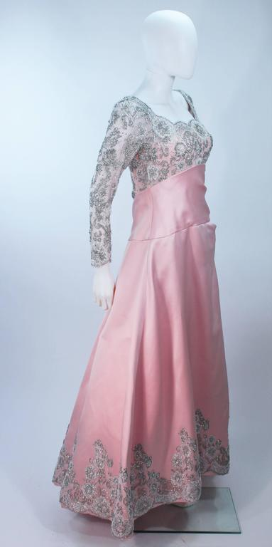 BOB MACKIE Pink Silk & Lace Embellished Ball Gown Size 12 6