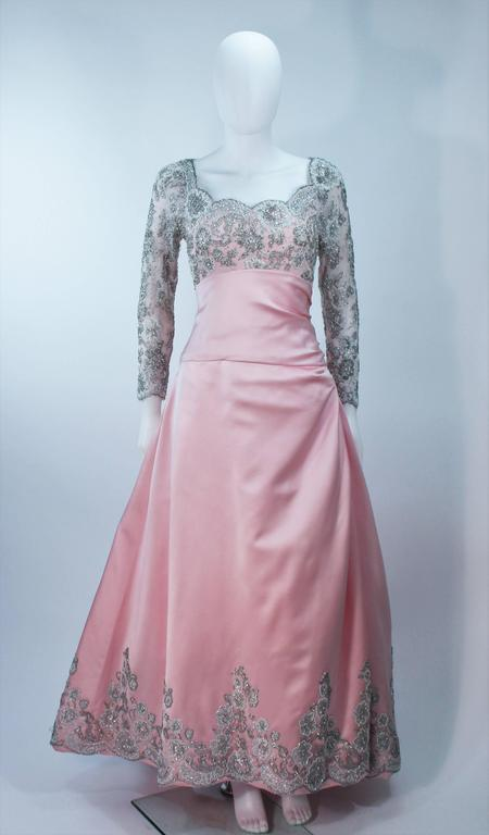 BOB MACKIE Pink Silk & Lace Embellished Ball Gown Size 12 4