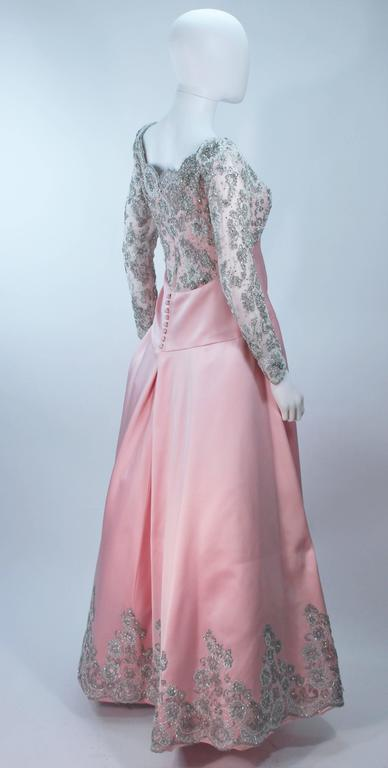 BOB MACKIE Pink Silk & Lace Embellished Ball Gown Size 12 7
