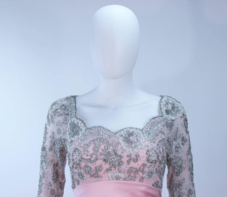 BOB MACKIE Pink Silk & Lace Embellished Ball Gown Size 12 3