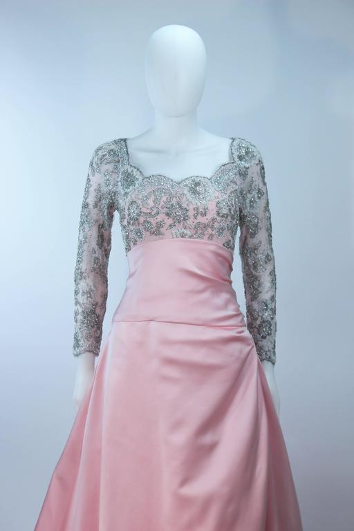 BOB MACKIE Pink Silk & Lace Embellished Ball Gown Size 12 5