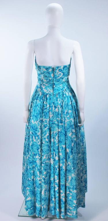 1950's Aqua Floral Watercolor Gown with Hi-Lo Skirt Size 2-4 8