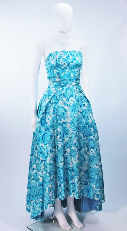 1950's Aqua Floral Watercolor Gown with Hi-Lo Skirt Size 2-4 4