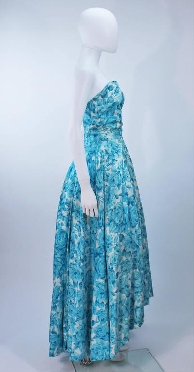 1950's Aqua Floral Watercolor Gown with Hi-Lo Skirt Size 2-4 6